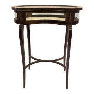 Antique English Kidney-Shaped Display Table Vitrine With Rosewood Inlay For Sale