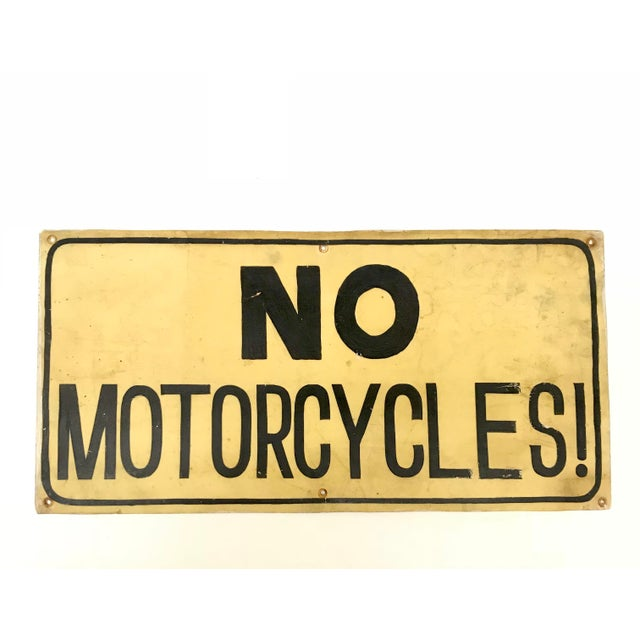 No Motorcycles Hand Painted Sign - Image 5 of 5