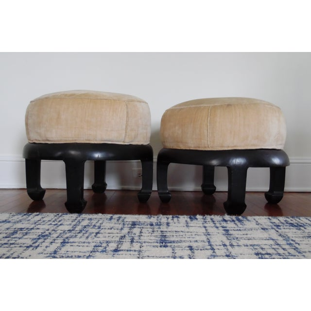 Wood Vintage Chinoiserie Ottomans Bill Meyer Lamps Inc- a Pair For Sale - Image 7 of 7