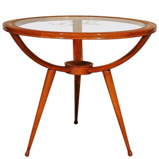 1940s Round Tripod Side or Coffee Table, Beechwood, Engraved Glass, Italy For Sale