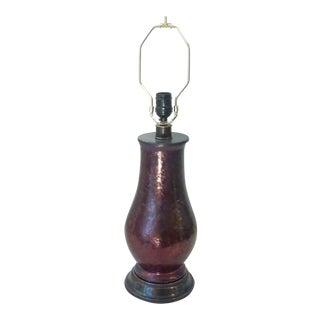 Aubergine Lusterware Lamp For Sale