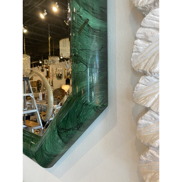 Vintage Large Green Faux Malachite Vertical or Horizontal Octagon Wall Mirror For Sale - Image 9 of 13