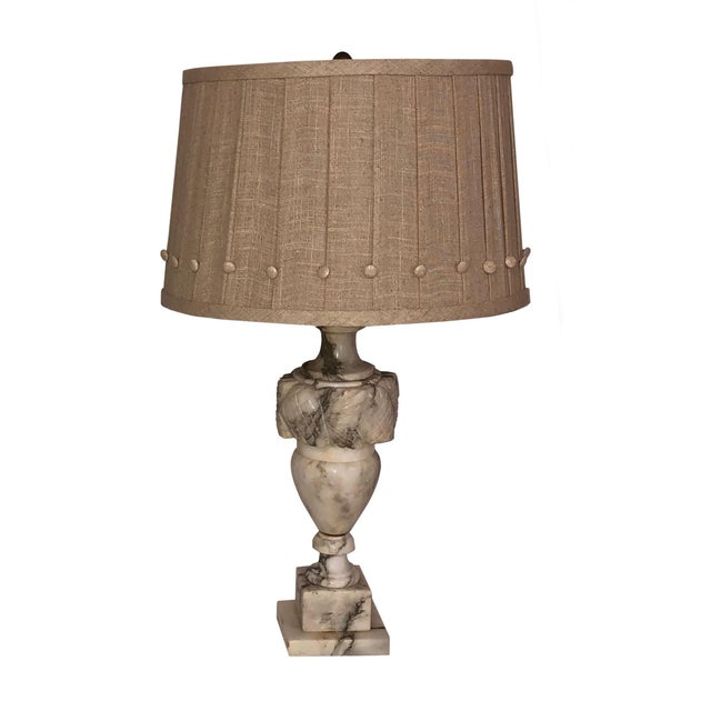 French French Marble Lamps With Custom Shades - a Pair For Sale - Image 3 of 11