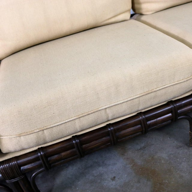 Brown Jordan Windowpane Dark Brown Rattan Sofa With Straw Colored Cushions For Sale - Image 12 of 13