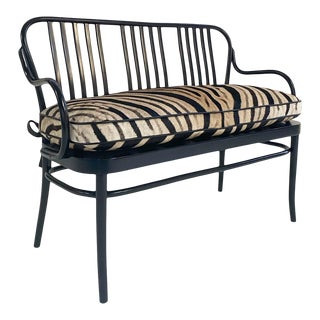 Josef Frank for Thonet Bentwood Bench With Zebra Hide Cushion For Sale