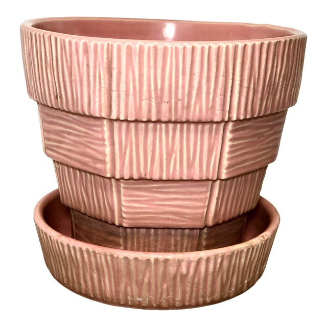 """McCoy Pottery 1940s – 1960s Large """"Pink"""" Mid-Century Flower Pot and Saucer. For Sale"""