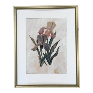 "1941 ""Bearded Iris"" Botanical Gouache Painting, Framed For Sale"