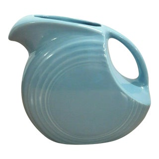 Fiesta Ware Turquoise Blue Large Disc Pitcher For Sale