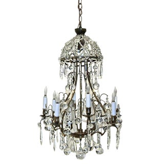 1930s Art Deco Crystal Patina Chandelier