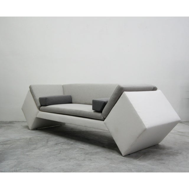 Contemporary Post Modern Geometric Sofa and Chair With Ottoman Set by Thayer Coggin For Sale - Image 3 of 13