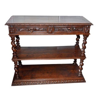 Antique 19th Century Jacobean Console/ Buffet Table For Sale