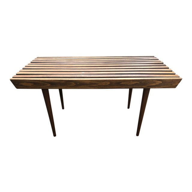 1950s Mid Century Modern Walnut Slat Coffee Table For Sale