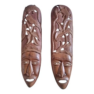 Haitian Hand Carved Wooden Masks Wall Art - a Pair For Sale