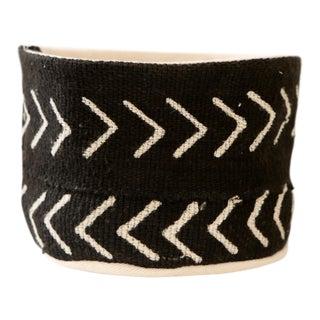 Vintage African Textile Black Chevron Mudcloth Planter Set