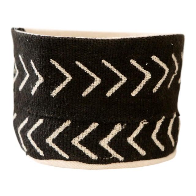 Vintage African Textile Black Chevron Mudcloth Planter Set For Sale