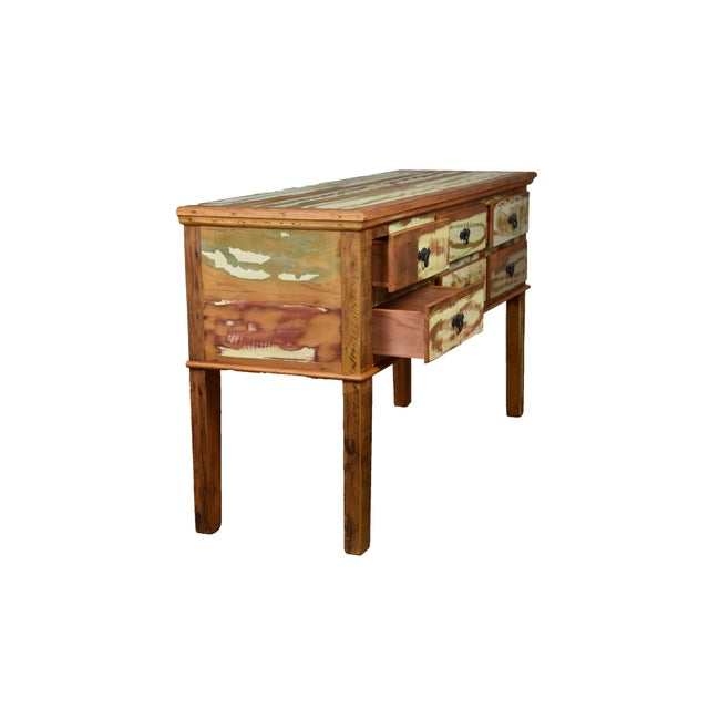 Reclaimed Peroba Wood Handmade Eco-Friendly 6 Drawer Console Table For Sale - Image 4 of 6