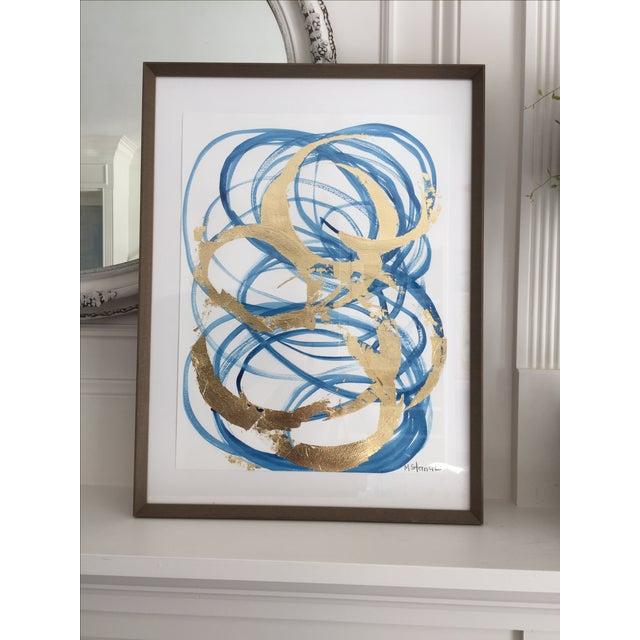 Framed Blue & Gold Watercolor - Image 2 of 4