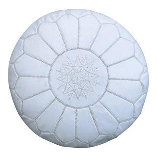 Snow White Moroccan Leather Floor Pouf