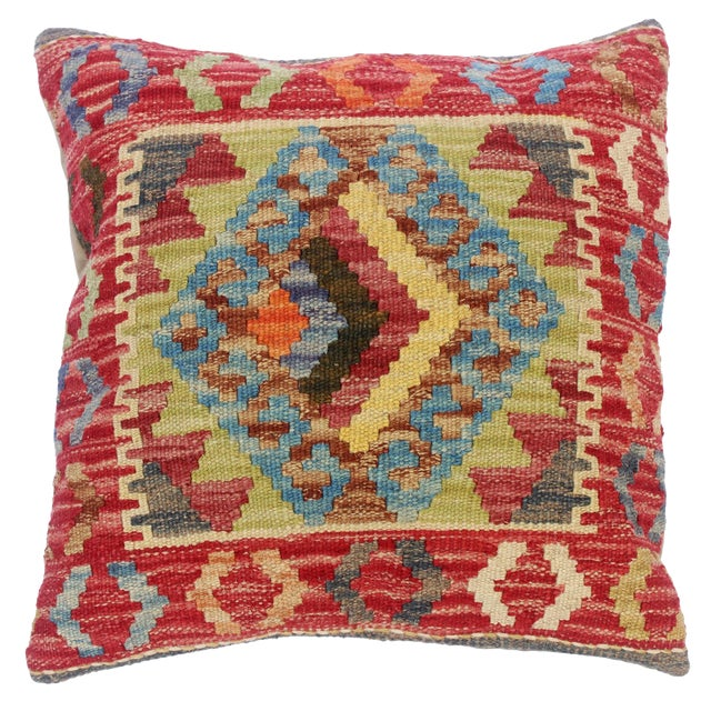 "Clelia Orange/Lt. Blue Hand-Woven Kilim Throw Pillow(18""x18"") For Sale"