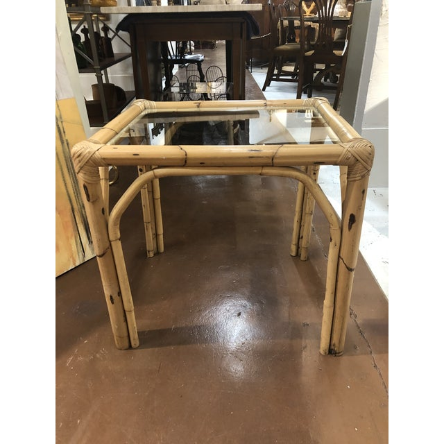 Glass Top Bamboo Side Tables - a Pair For Sale - Image 12 of 13