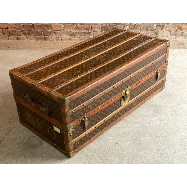 Louis Vuitton Steamer Trunk Wardrobe Trunk Chest France, circa 1920 For Sale - Image 9 of 13