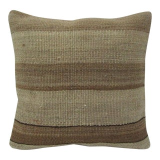 Vintage Handmade Brown Striped Kilim Pillow Cover For Sale