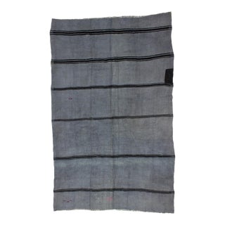 1960s Vintage Turkish Striped Dyed Gray Hemp Kilim Rug - 6′3″ × 10′ For Sale