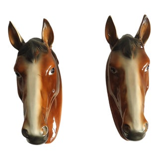 Mid Century Pottery Wall Hanging Horse Heads - a Pair For Sale