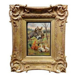 William Weekes Donkeys W/ Chickens & Ducks -19th Century Oil Painting For Sale