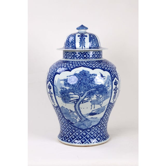 Early 20th Century Vintage Blue White Temple Jar For Sale - Image 13 of 13