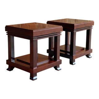 Frank Lloyd Wright 'Robie' Side Tables or Stools Manufactured by Cassina - A Pair For Sale