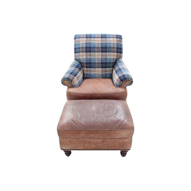 Lexington Furniture Leather Lounge Chair & Ottoman With Lee Jofa's Clan Chenille For Sale