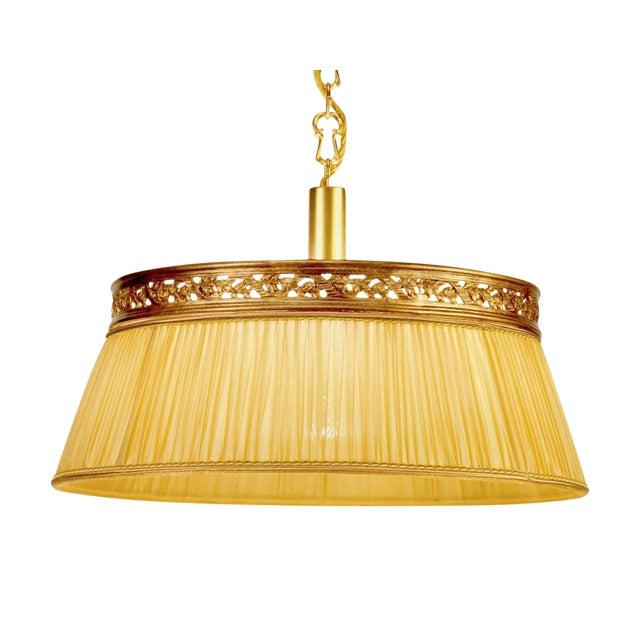 Brass Chandelier Fabric Shade Light - Image 1 of 3