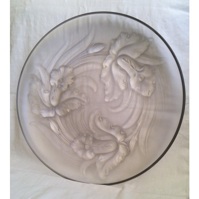 Art Deco Antique Frosted Glass Platter For Sale - Image 3 of 5
