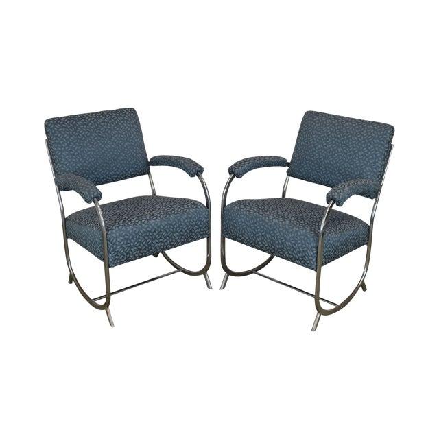 Art Deco Vintage Chrome Frame Pair of Armchairs For Sale
