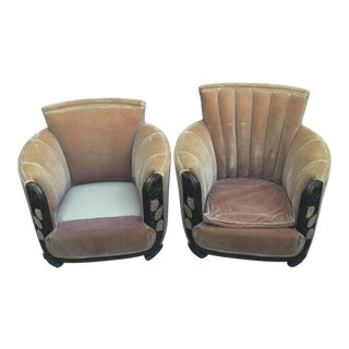 1920s Art Deco Mohair Chairs - Pair For Sale
