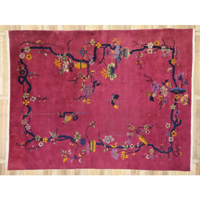 Blue 1920s Antique Chinese Art Deco Rug - 8′10″ × 11′7″ For Sale - Image 8 of 10