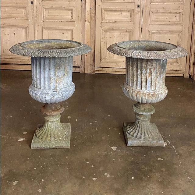 Late 19th Century Pair Large 19th Century Cast Iron Jardinieres ~ Garden Vases For Sale - Image 5 of 12