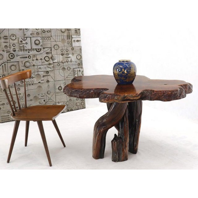 Arts & Crafts Burl Wood Natural Free Edge Slab Top Gueridon Center Table For Sale - Image 3 of 12