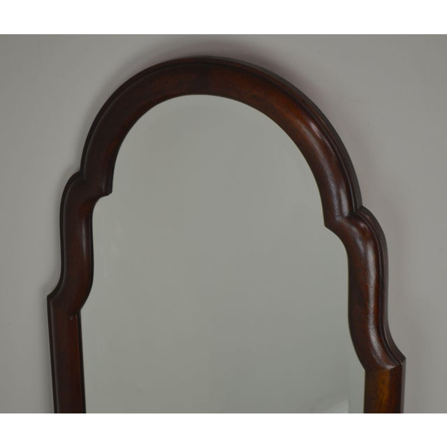 Hickory Chair Co. Pair Solid Mahogany Frame Arch Top Beveled Mirrors For Sale - Image 9 of 13