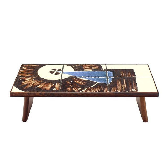 Mid-Century Modern Rosewood and Tile Top Folding Legs Serving Tray For Sale - Image 11 of 11