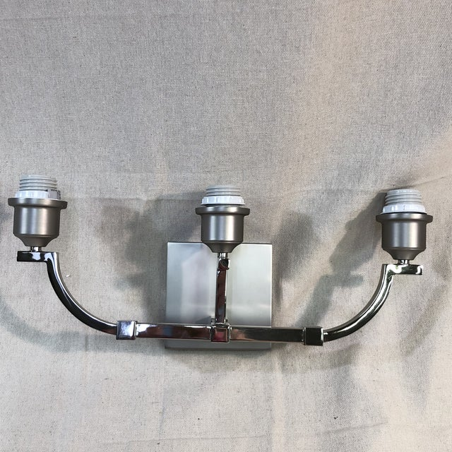 Metal Feiss Preakness 3-Light Satin Nickel / Polished Nickel Vanity Wall Light For Sale - Image 7 of 11