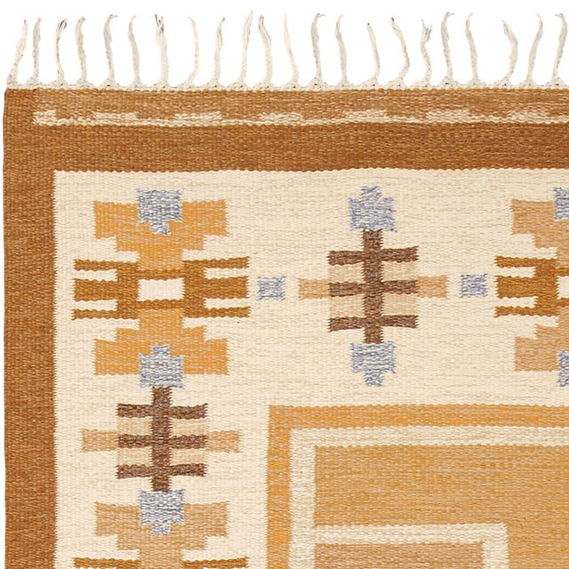 "FJ Hakimian Vintage Swedish Flat Weave Rug by Ingegerd Silow - 5'6""x7'7"" For Sale - Image 4 of 5"