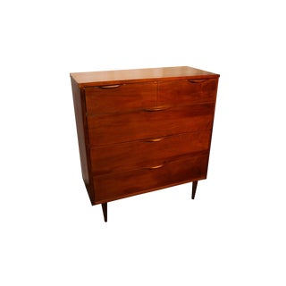 Mid Century Modern Tall Dresser with Sculpted Handles For Sale