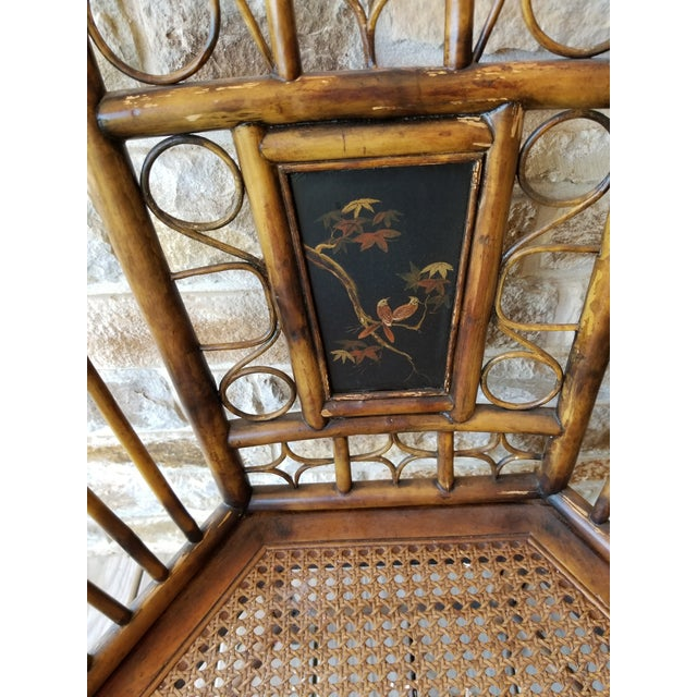 Pair of Bamboo Armchairs With Chinoiserie Panels For Sale In San Antonio - Image 6 of 8