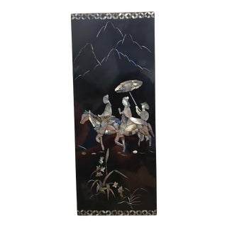 Mid Century Modern Asian Chinoiserie Mother of Pearl Lacquer Panel Wall Art For Sale