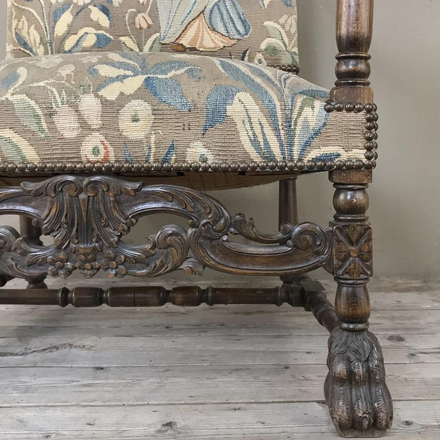 19th Century French Louis XIII Armchair With Tapestry For Sale - Image 11 of 12