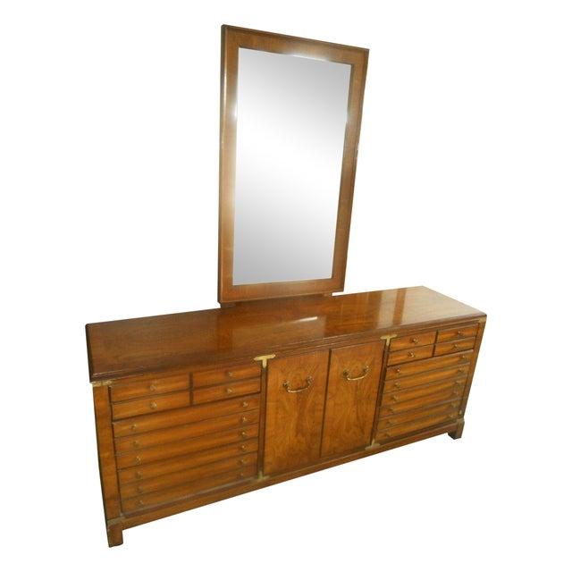 Lane Furniture Burl Maple Triple Dresser & Mirror - Image 1 of 8