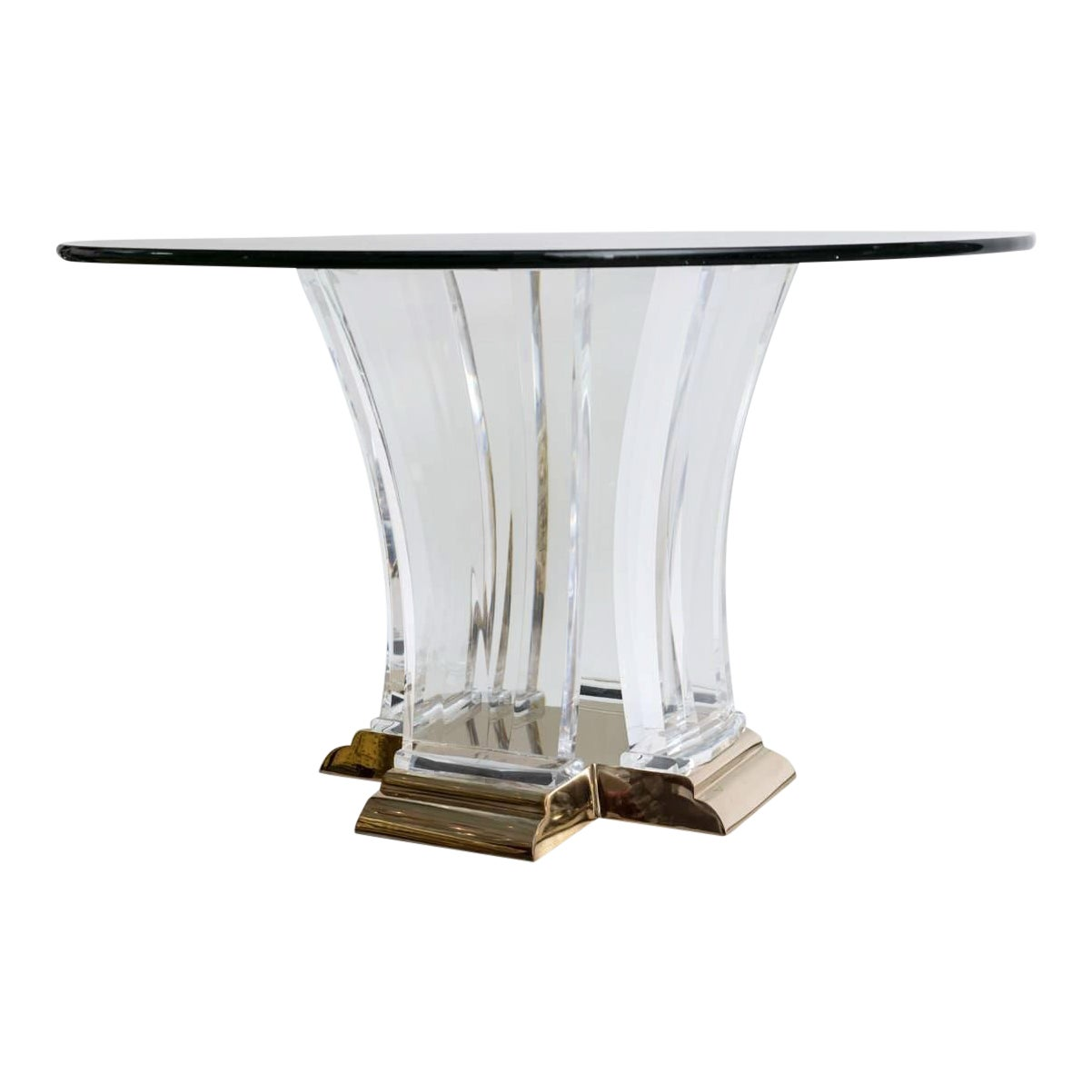 Luxury Lucite And Brass Dining Table By Jeffrey Bigelow