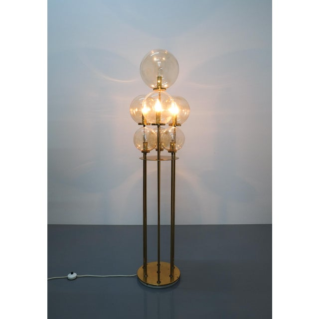 Glashütte Limburg Brass Glass Floor Lamp, Germany 1960 For Sale - Image 9 of 10